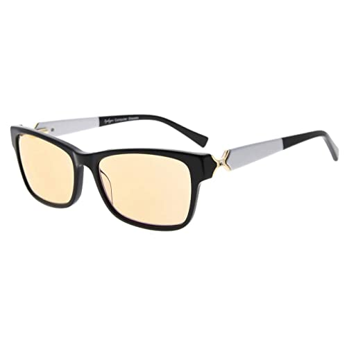 6e3a97d10648 Eyekepper Amber Tinted Lens Optical-Quality Computer Eyeglasses with RX-Able  Acetate Frames for