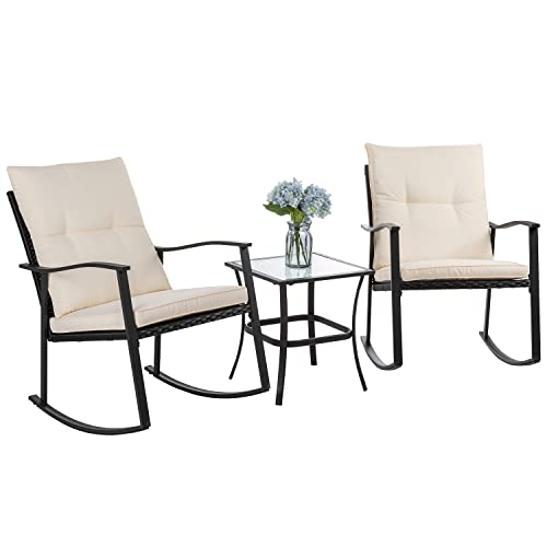 Cushioned Patio Rocker Chair Set, Outdoor Rocking Chairs Set Of 2