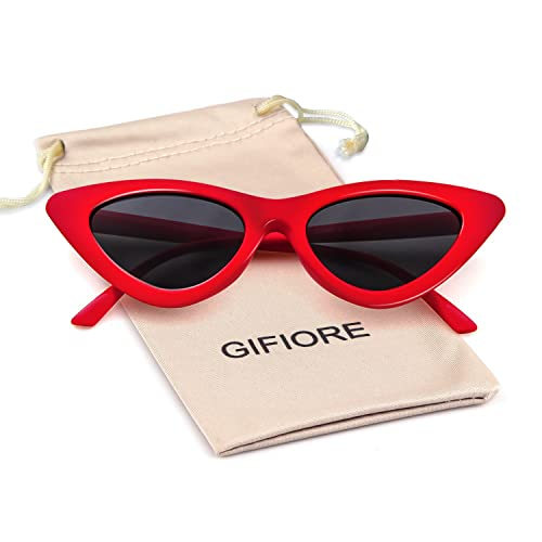 4a3284d2bfb4d Gifiore Retro Vintage Cateye Sunglasses for Women Clout Goggles Plastic  Frame Glasses